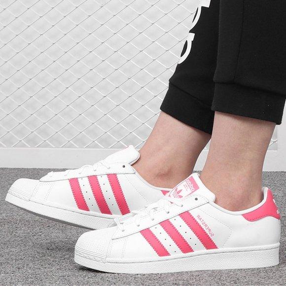 Adidas Superstar Big Kids Sneakers White Pink